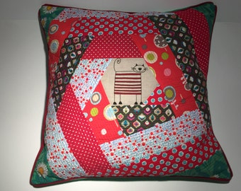 Pillow pillowcase patchwork cushion red green gift for you