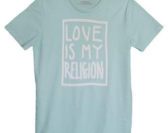 LoveIsMyReligion Men's Statement Shirt Caribbean Blue