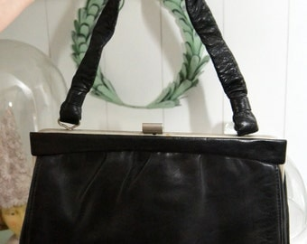 Vintage exclusive silver leather bag handbag leather 50s 60s
