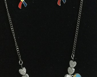 Silver Gliterred Autism charm Necklace and Earing Set