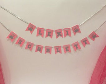 Personalized Name Banner . Pink and Silver Glitter