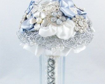 Silver bridal bouquet with brooches