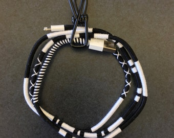Salt and Pepper USB Charging Cable - Custom Wrapped iPhone Charger Cord