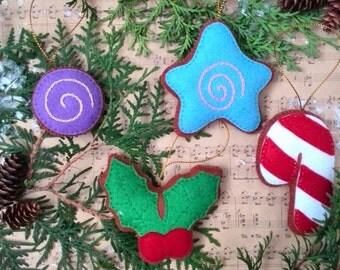 Tree Ornament Set of 4 Felt-Christmas tree ornaments -Christmas felt-Christmas decoration-Winter decorations Holly Christmas