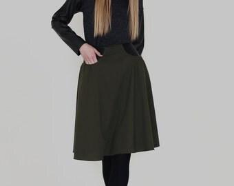 Khaki wool skirt