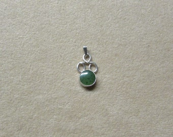Beautiful Jade STERLING silver round-stone pendant with a lace-like wire work design.