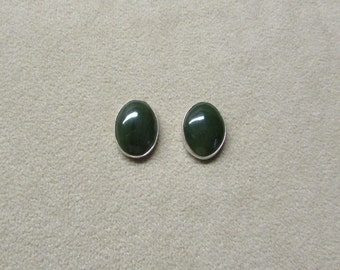 Beautiful Jade STERLING silver earrings with a post.