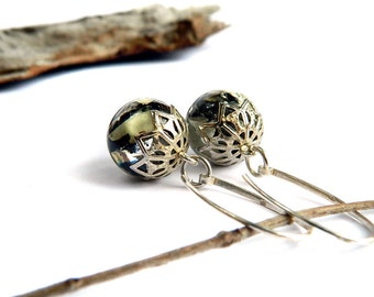Moss earrings, Sterling Silver, moss jewelry, resin jewelry, unique gift, nature lovers