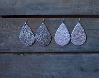 Metallic teardrop earrings, Gun metal gray leather earrings, silver leather earrings, statement earrings, drop earrings