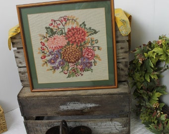 Vintage Needlework Flower Picture/ Flower Embroidery/ Tapestry Flowers Picture/ Sewing/SALE (0019F)