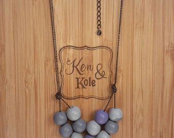 Polymer Clay Necklace - double stranded blue analogous