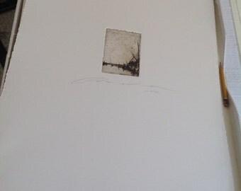 Art print, chalcographic engraving, etching. Landscape #002