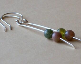 Jasper Earrings - Green Stone Earrings - Pink Gemstone Earrings - Long Sterling Silver Earrings - Earth Tone Earrings - Chakra Earrings