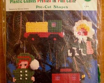 Vintage CHRISTMAS ORNAMENT Plastic Canvas Kit ~ Elf Doll Train Caboose Ornaments