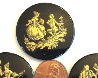 VIntage cameo (1) large  cameo courting couple man woman Victorian black gold  Wedding Bridal painted gold flatback 34mm round (1