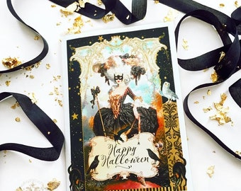 Halloween card, Marie Antoinette in a masquerade costume, Halloween witch card, blank inside