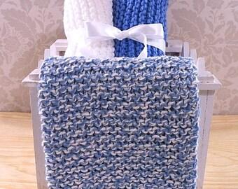 Hand Knitted Dishcloths, Cotton Washcloths, Dish Cloths, Wash Cloths, Handmade towels, Dish Rags  - Blue Twist