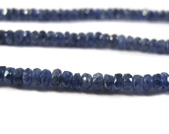 Blue Sapphire Rondelles, Untreated Sapphire Beads, Little 3mm Gemstones, Over 95 Faceted Beads, 7 Inch Strand (Luxe-Sa2b)