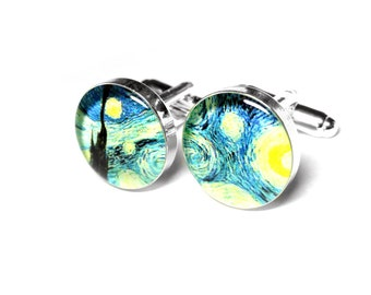 Vincent Van Gogh, Starry Night Cufflinks, Fine Art Cufflinks, Gift for Dad, Fathers Day Gift, Resin Cufflinks, Grooms Gift, Gift for Him