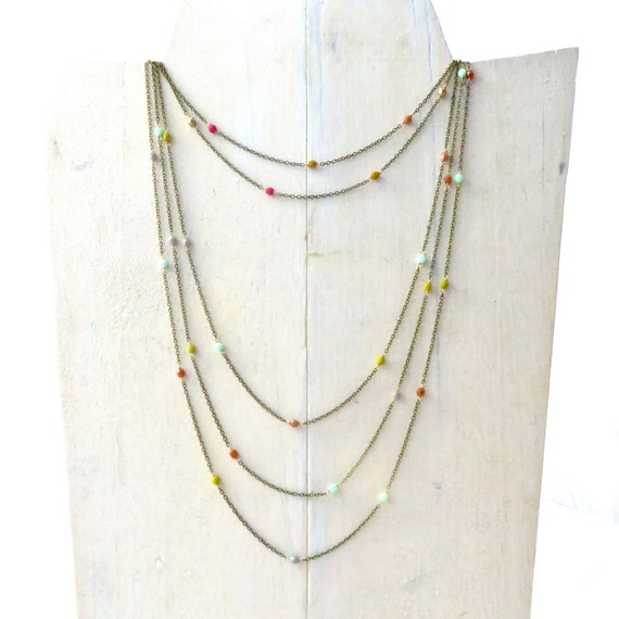 Long Chain Necklace / Long & Layered / Simple Necklace / Boho Necklace / Beaded Necklace / Gift for Sister / Gift for Her / Gift for Mom