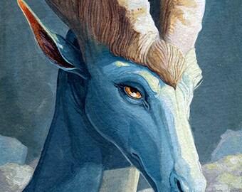 Original Gouache Painting: Cold Blue