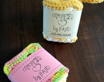 Printable PDF Crochet Dishcloth Label Wrappers - Crocheted by Hand with a Heart
