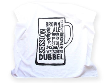 The Beer Aficionado Towel - Types of Beer Flour Sack Towel -  Fathers Day Gift Giving - Beer Lover - Gifts for Beer Lovers - Bar Towel