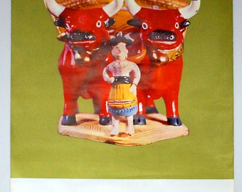 Portugal Travel Poster, 1960s Barcelos Red Bulls, Vintage Folk Art, Olive Green Wall Hanging, Europe Souvenir, Advertising Ephemera