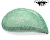 1 - Mint Green / Jade - Teardrop / Comma-Shaped - Hat Base - Hat Form - Hat Foundation -  Sinamay Straw - Fascinator - Millinery
