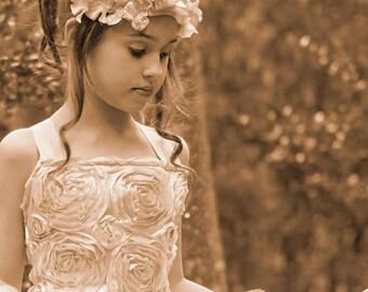 Flowergirl Gold Hydrangea Crown Headband Wreath Hair Accessory