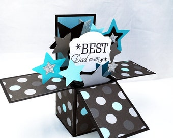Father's Day Pop Up Card - Best Dad Ever Card in a Box - Black Silver and Blue Star Explosion Card - 3D Fathers Day Card from Son, Daughter