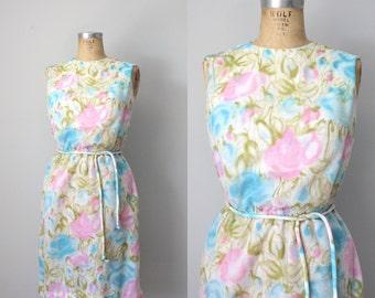 vintage mid century modern a line knee length watercolor cotton summer sleeveless dress pink aqua blue small sm s