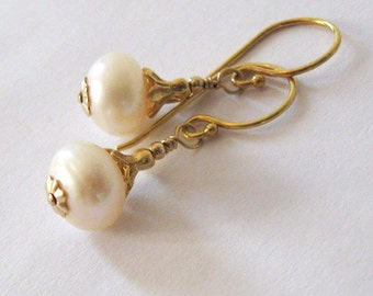 Cream Freshwater Pearl Earrings Gold Vermeil  Flower Bud Bead Caps Gold Vermeil Hooks