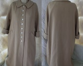 Vintage Sycamore for The Higbee Company Tan Wool Blend A-Line Swing Style 1960s Jacket / Coat - Women's Large