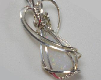 Firey Australian  Opal  Sterling Silver Wire Wrap Pendant Necklace