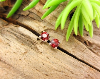 Ruby Red Garnet Earrings in Gold, Silver, or Platinum with Genuine Gems, 3mm - Free Gift Wrapping