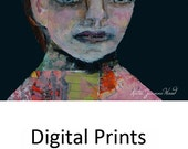 Woman Portrait Painting Print. Collage Wall Art Prints. Home Wall Print Decor