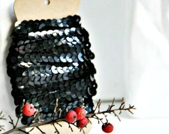 Black Sequin Ribbon Trim {5.0m} DIY Craft Supply | Wedding Christmas Festive | Holiday Gift Wrap | Sparkle Trim | SALE