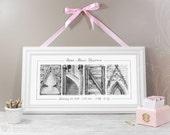 Custom Baby Name | 10x20 Print | Newborn Birth Announcement | Alphabet Photos | Baby Shower Gift for New Parents, Baptism, Christening