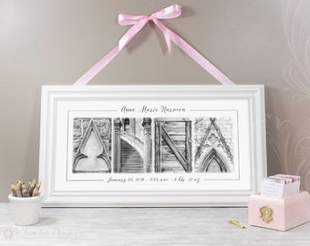 Custom Baby Name 10x20 Print Newborn Birth Announcement in Alphabet Photos for Baby Shower Gift or New Parents