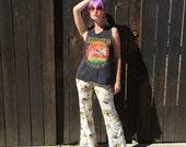 Fonds Bell Vintage / / imprimé pantalon / / vêtements Hippie / / vêtements psychédélique / / blanc Floral oiseaux / Festival de vêtements / / XXS XS