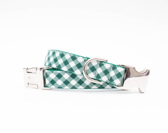 Plaid Christmas Dog Collar - Pine and Ivory Check Flannel