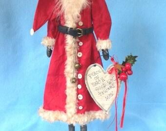 OOAK Collectible Folk Art Santa Prototype Art Doll