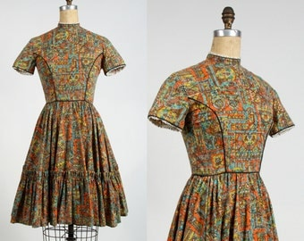 SALE- Folk Print Dress . 1960s Country Frock Full Skirt