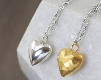 Heart necklace gifts for her Sterling Silver heart necklace I Love You necklace vermail gold necklace
