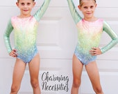Girls Leotard, Gymnastics Leotard, Tumbling Dance Cheer  Sparkly Pastel Rainbow Holographic Long Sleeve Leotard by Charming Necessities