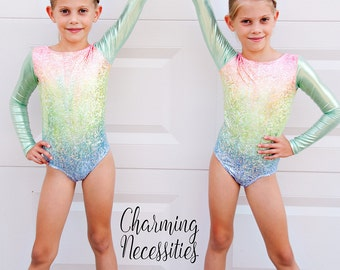 Girls Leotard, Gymnastics Leotard, Tumbling Dance Sparkly Pastel Rainbow Holographic Long Sleeve Leotard by Charming Necessities
