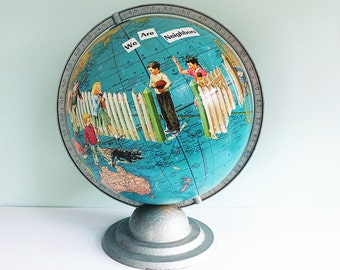 Handmade Altered Art Vintage Globe with Decoupaged Images of Children from a 1940s Primer, Cram's Universal Terrestrial World Globe