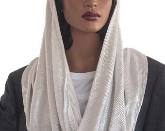 Kaatnu Veil™ Silver Metallic Veil Christian Scarf Catholic Veil Modest Headcovering Chapel Veil Prayer Veil Church Veil Handmade