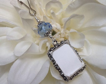 Wedding bouquet photo charm. Something blue for a bride. Memorial photo charm- true blue crystal or glass. Gift for the bride.